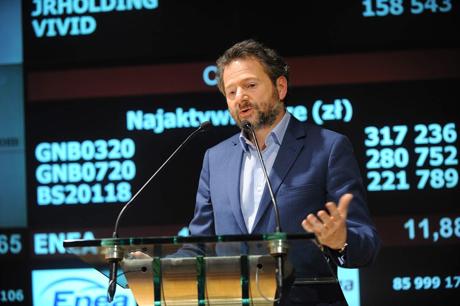 Michalis Michael speaking at the Warsaw Stock Exchange
