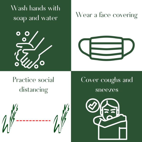 graphic describes covid protocols, wash hands, wear a mask, cover coughs, stay 6 feet apart