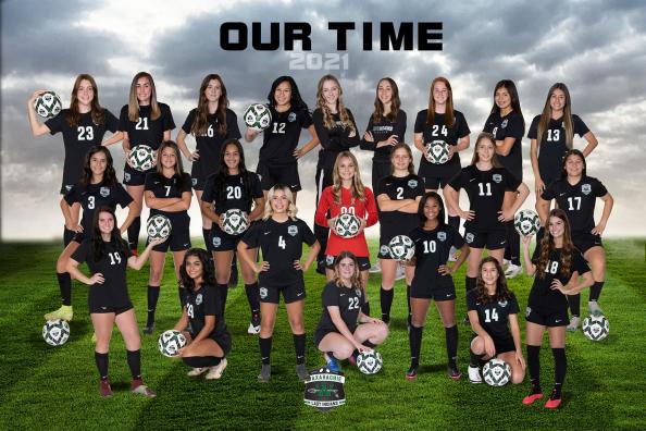 varsity girls soccer team in uniform
