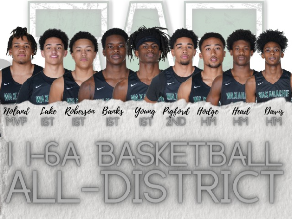 graphic with 3 teen boys reads basketball all-district