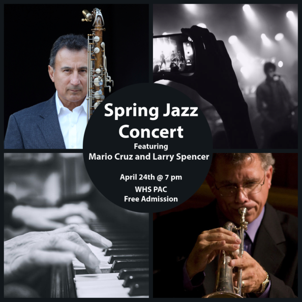 graphic describes spring jazz concert on april 24 at 7 at WHS