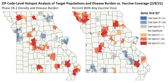 ZIP Code-Level Hotspot Analysis of Target Populations and Disease Burden vs. Vaccine Coverage (2/8/21)