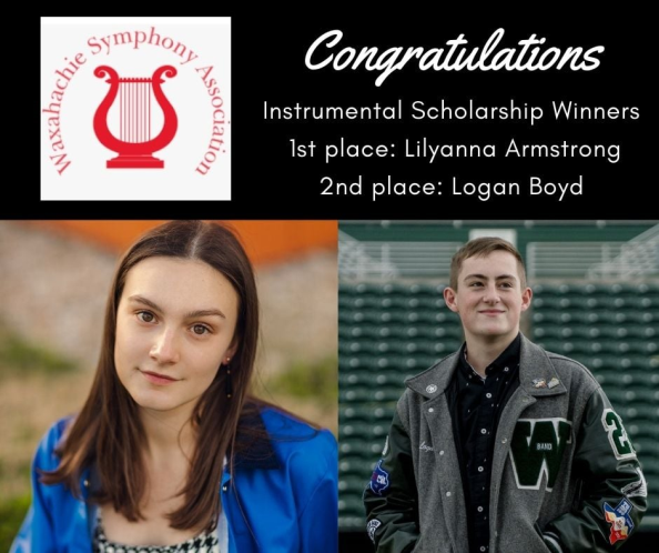 graphic describes 2 Waxahachie Symphony scholarship winners
